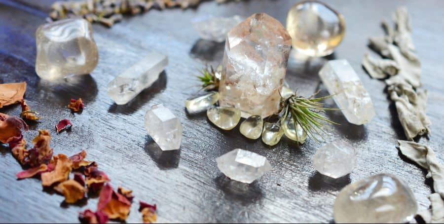 crystals, dried herbs for self care bathing ritual